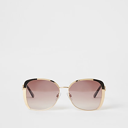 Gold oversized pink lenses sunglasses