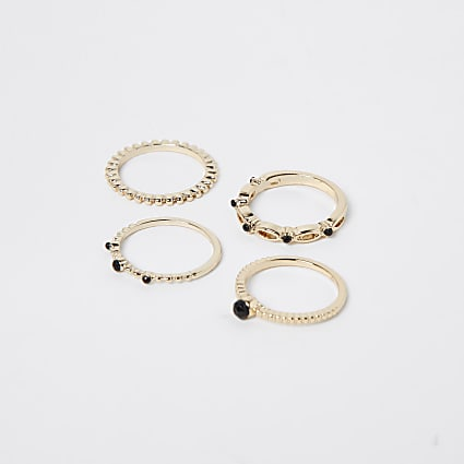 Gold pack of 4 twist rings