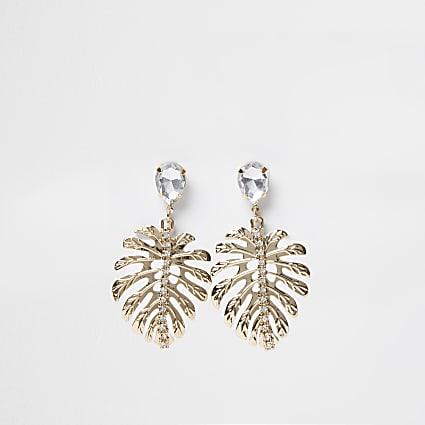 Gold palm leaf diamante drop earrings