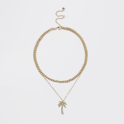 Gold palm multirow chain necklace