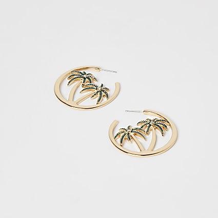 Gold palm tree hoop earrings
