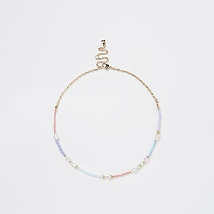 Gold pastel mixed beaded necklace