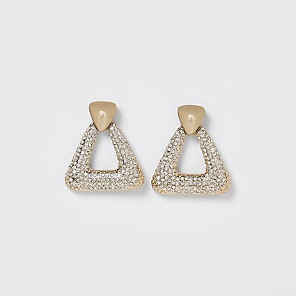 Gold pave door knocker earrings