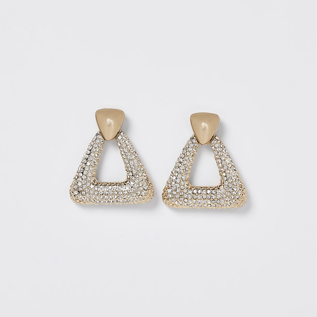 Gold pave door knocker earrings