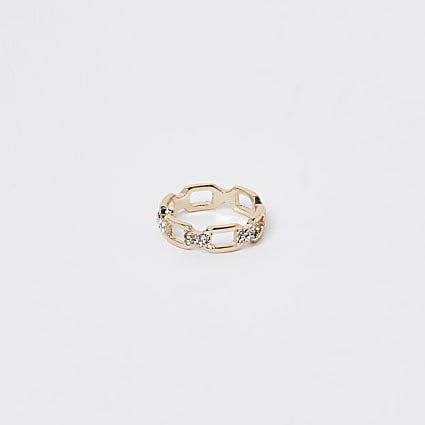 Gold pave link ring