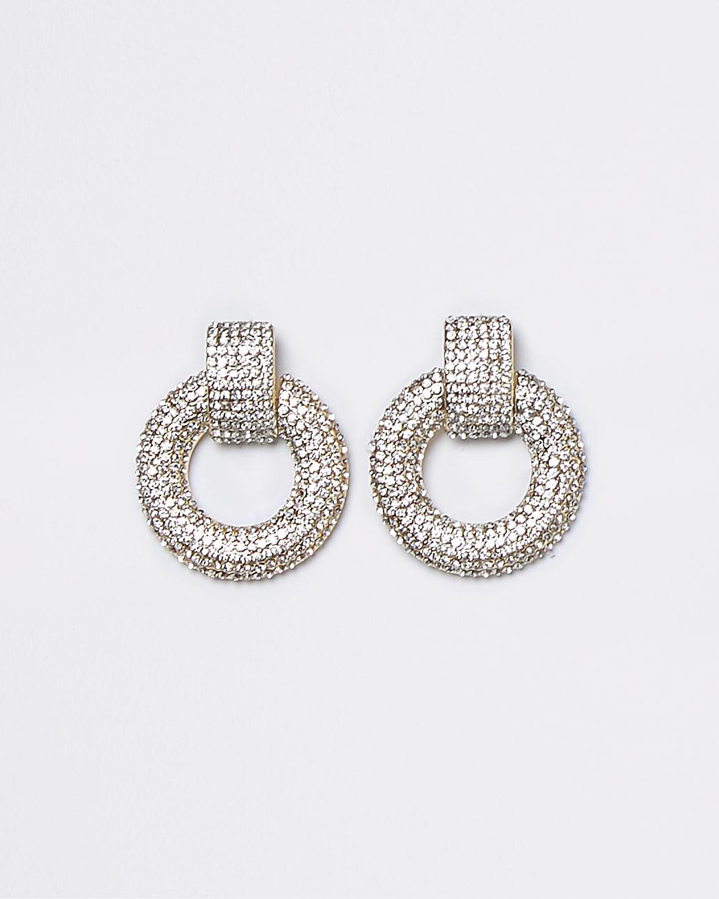 Gold pave mini door knocker earrings