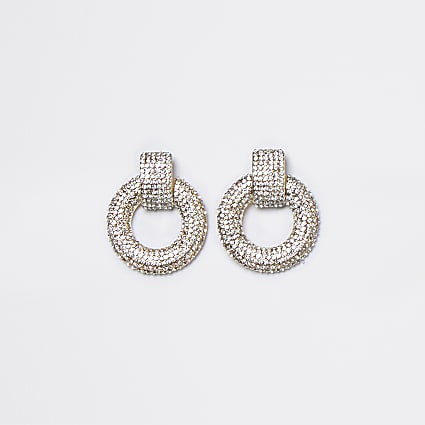 Gold pave mini door knocker earrings