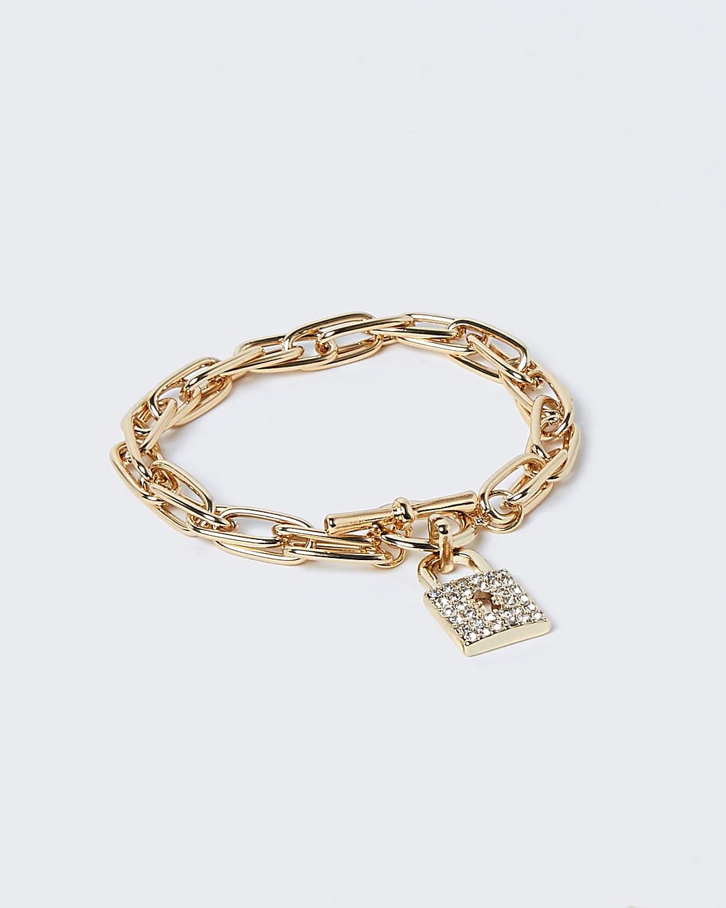 Gold pave padlock diamante bracelet