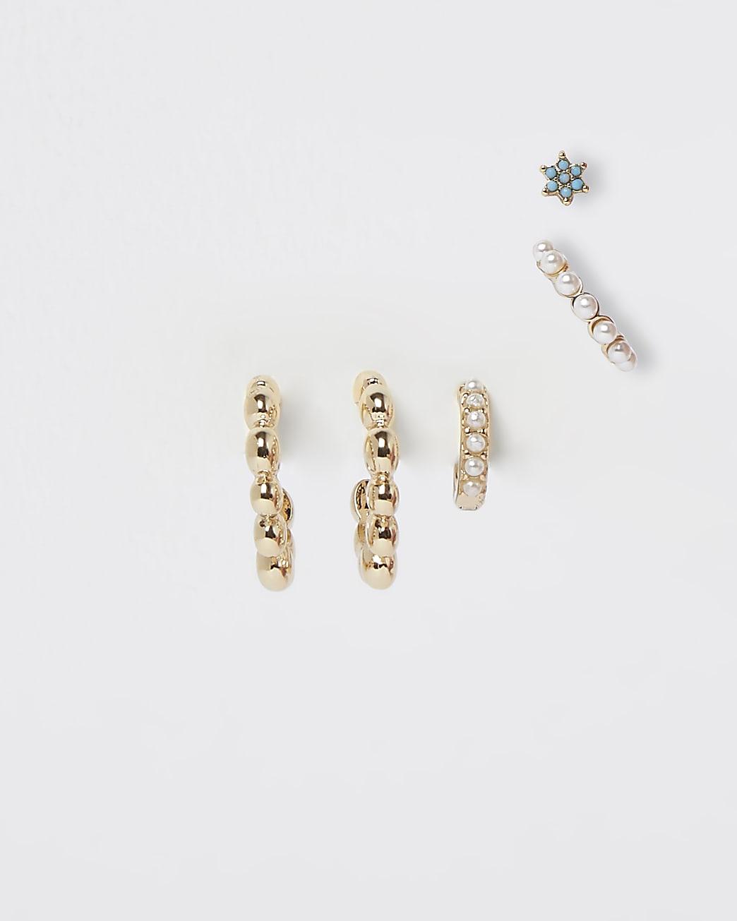 Gold pearl 6 pack earrings