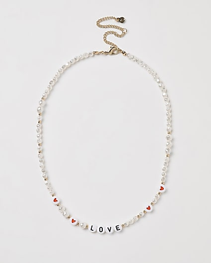 Gold pearl and beaded 'Love' necklace