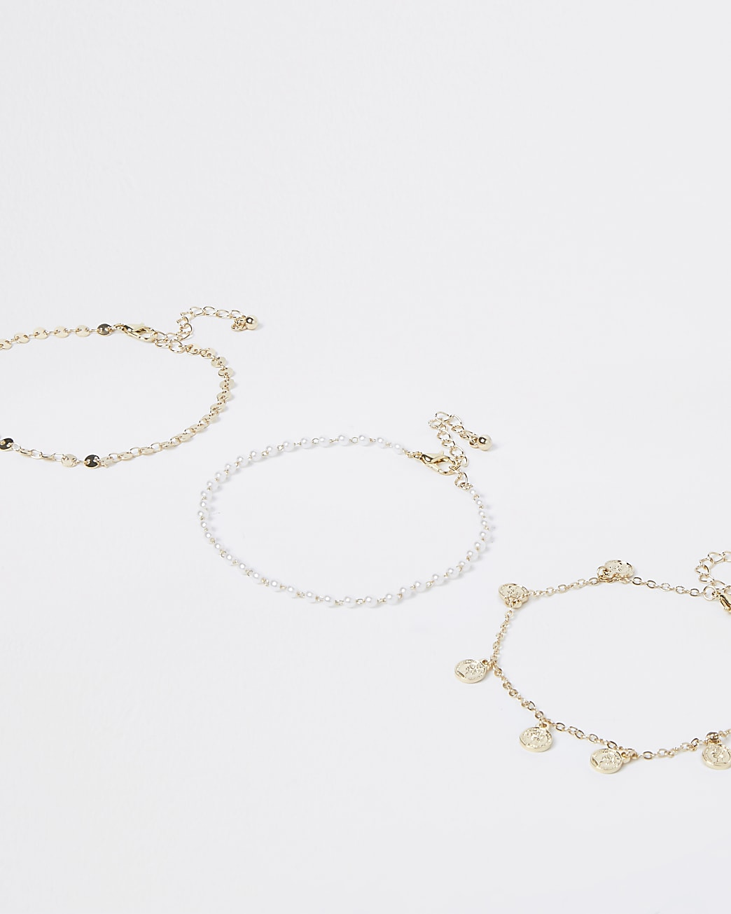 Gold pearl and coin anklet multipack
