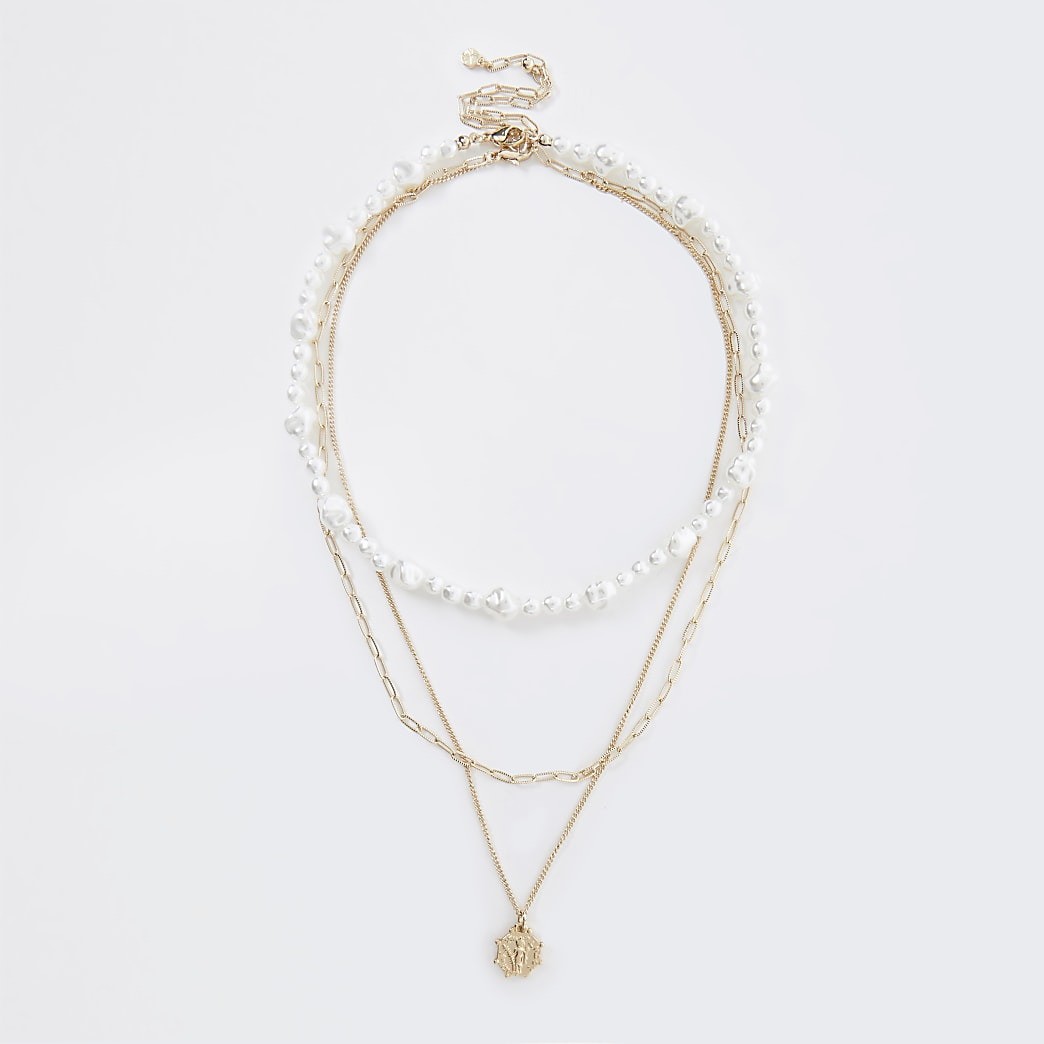 Gold Pearl And Coin Multi Necklace