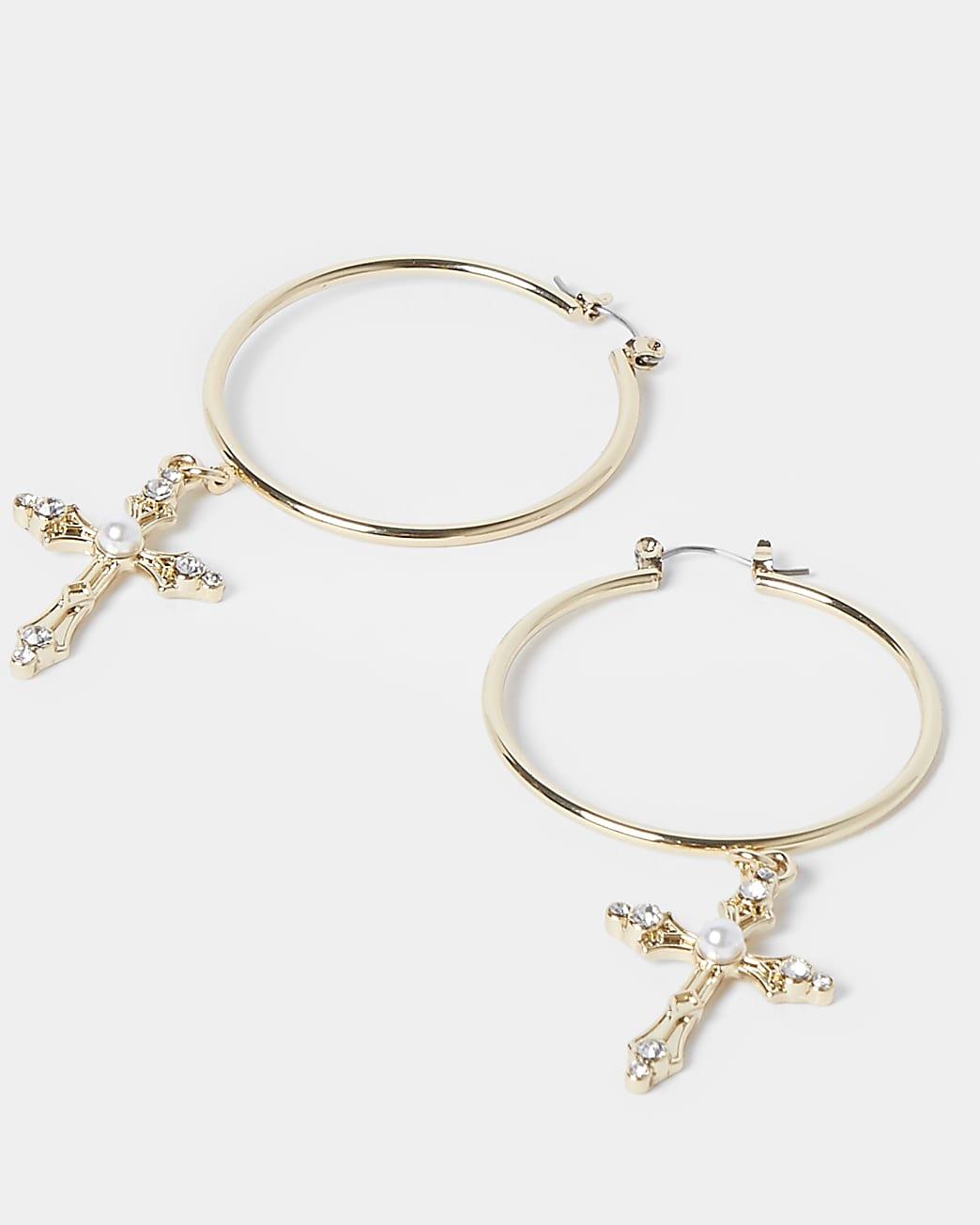 Gold pearl cross drop hoop earrings