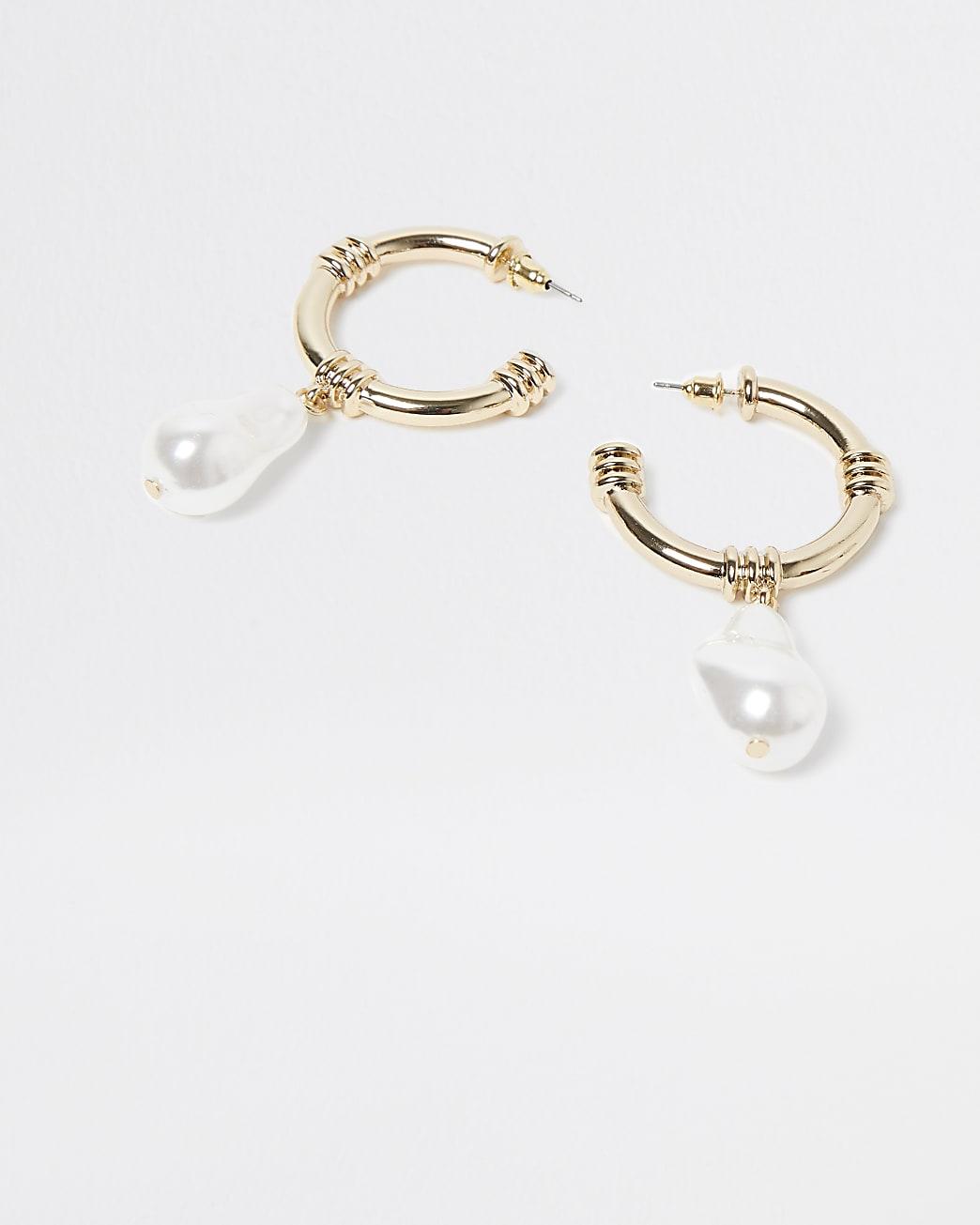 Gold pearl drop hoop earring