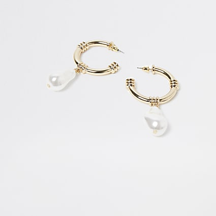Gold pearl drop hoop earring