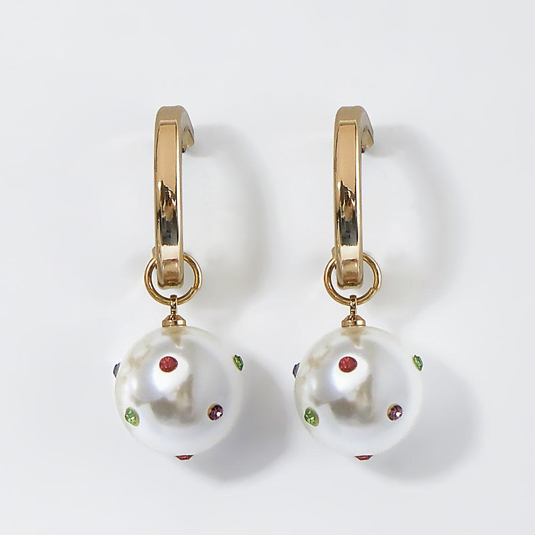 Gold pearl drop hoops