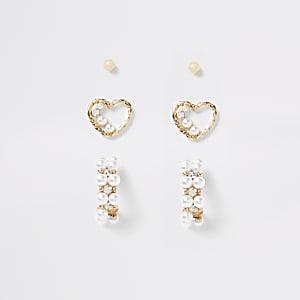 Set van 3 goudkleurige hartvormige oorbellen verfraaid met siersteentjes