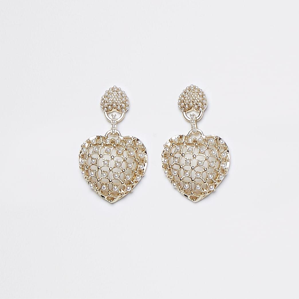 Gold pearl heart drop earrings