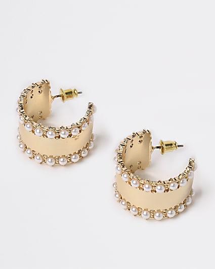 Gold pearl trim hoop earrings