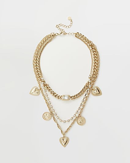Gold pendant chain link multirow necklace