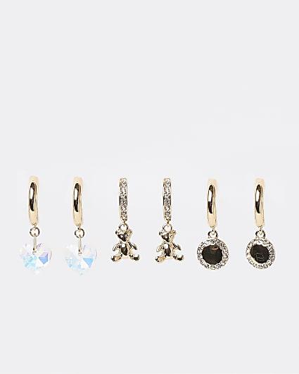 Gold pendant hoop earrings multipack