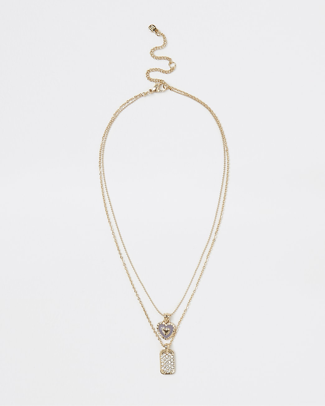 Gold pendant multirow chain necklace