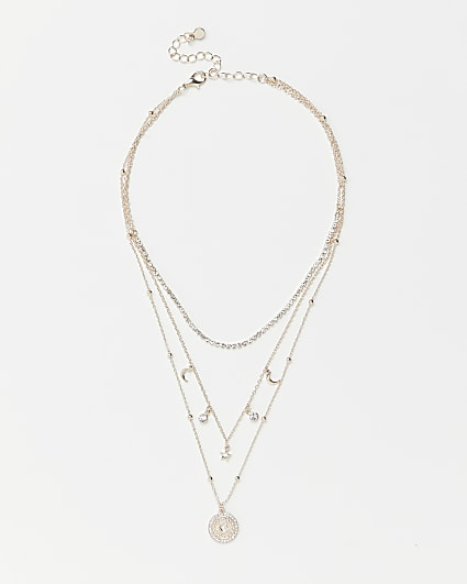 Gold pendant multirow necklace