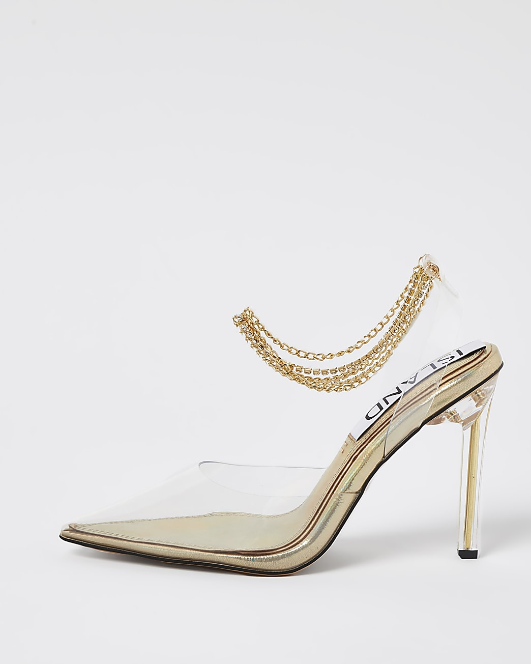 Gold perspex court shoe