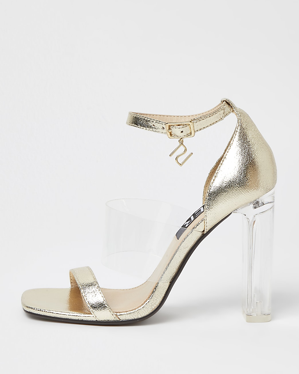 Gold perspex heeled sandals