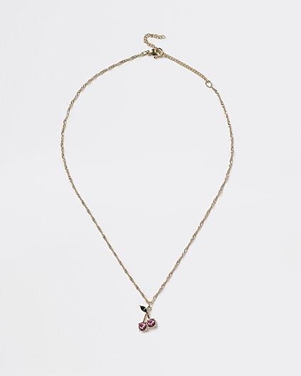 Gold pink diamante cherry pendant necklace