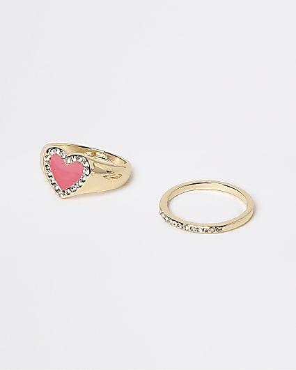 Gold pink enameled heart ring multipack