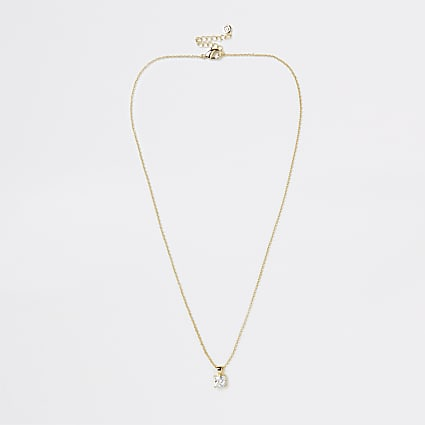 Gold Plated Baguette Crystal Necklace