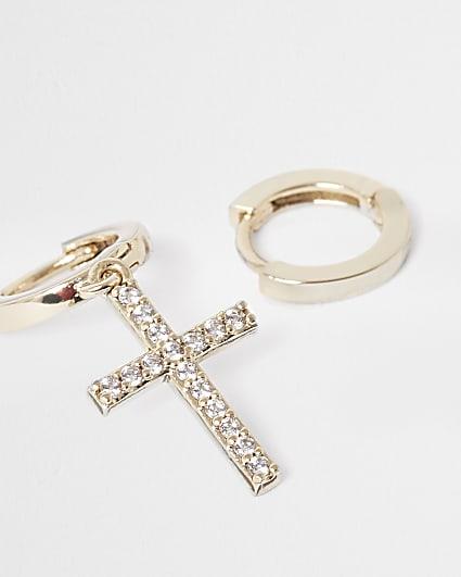 Gold plated crystal cross hoop earrings