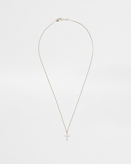 Gold plated crystal cross necklace