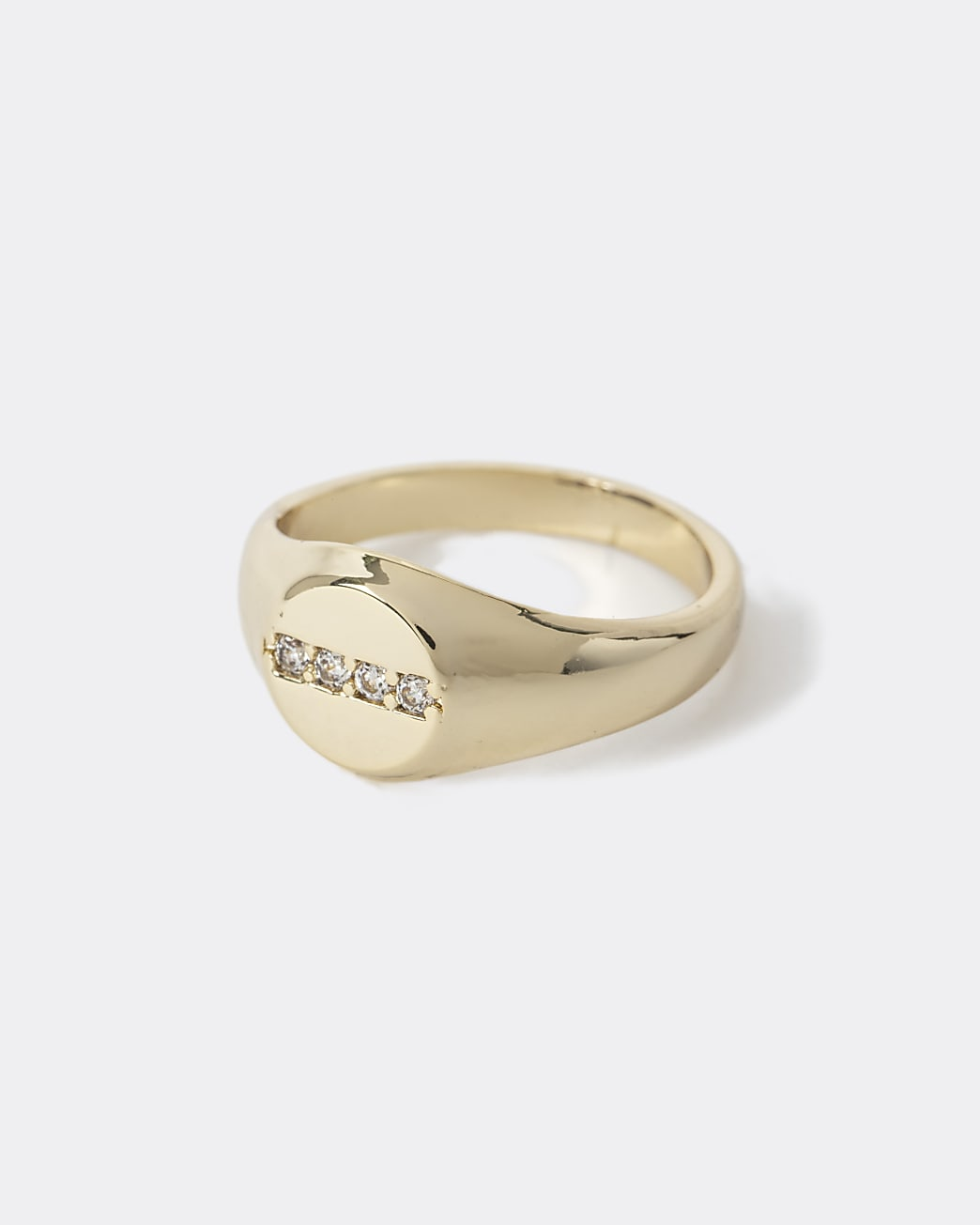 Gold plated diamante signet ring
