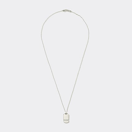 Gold plated diamante tag pendant necklace