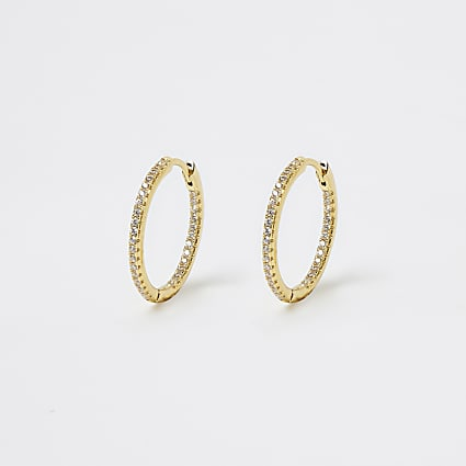 Gold Plated Full Pave Hoops