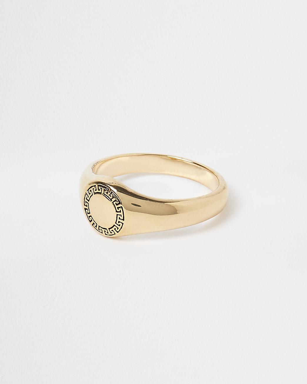 Gold plated Greek key signet ring