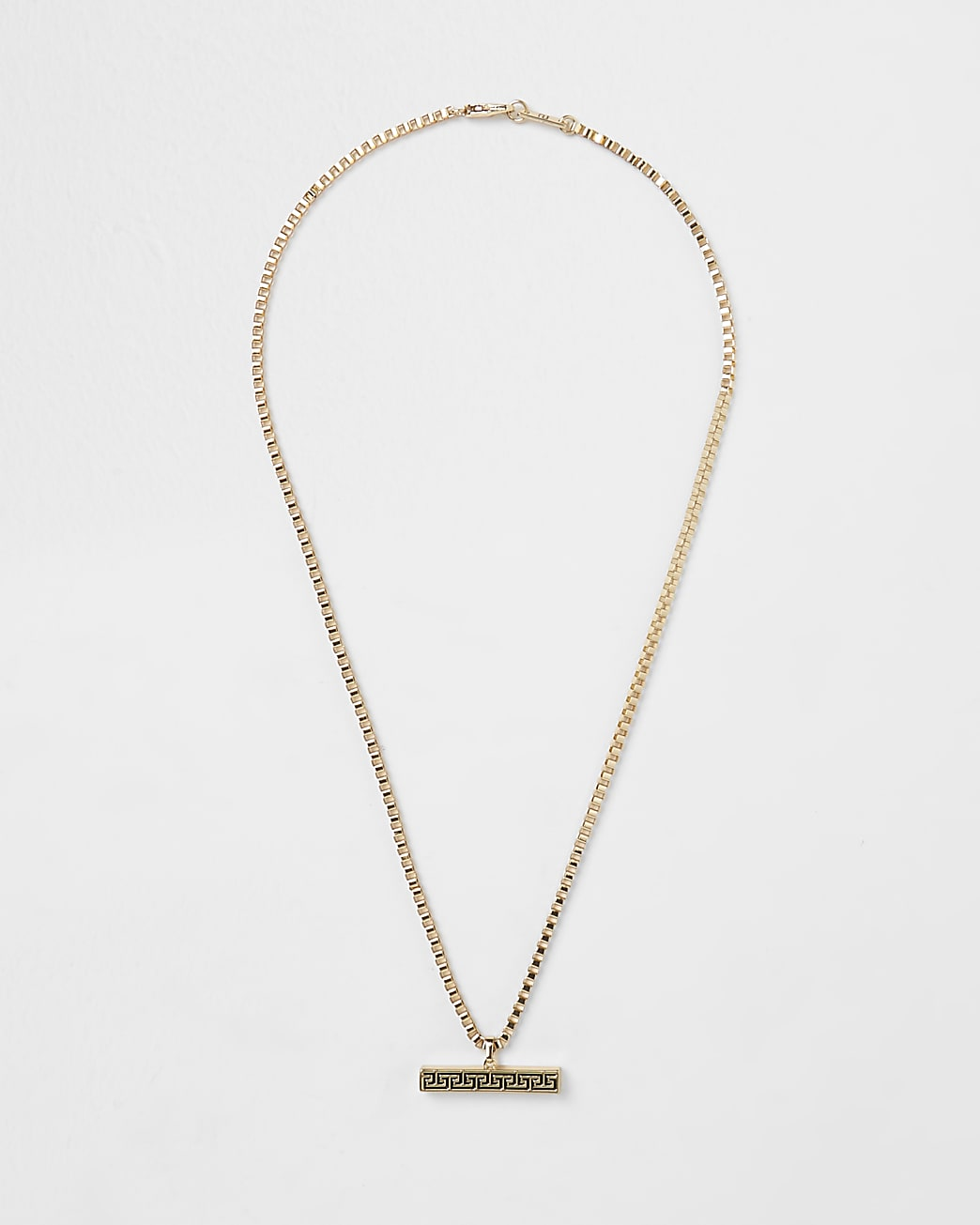 Gold plated Greek key T bar necklace