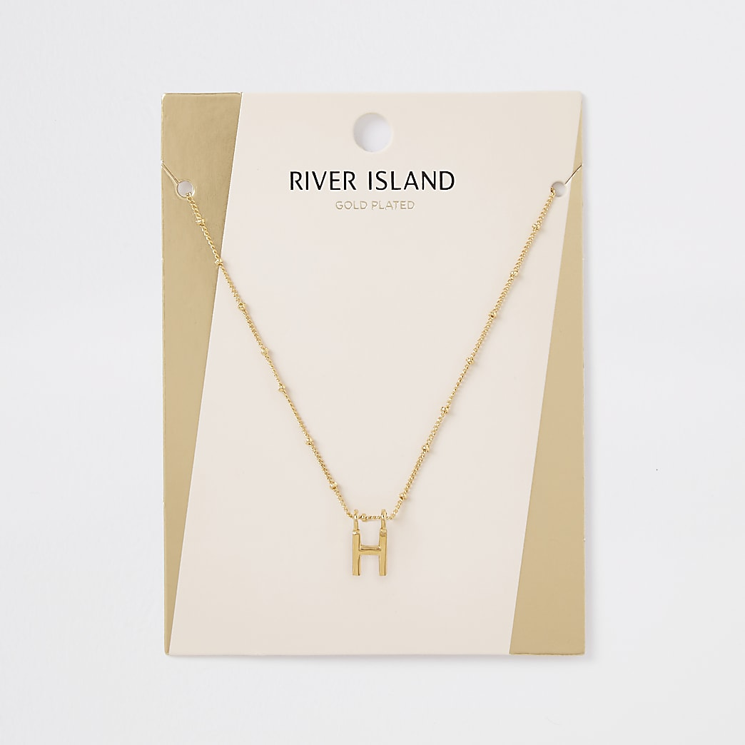 Gold plated 'H' initial necklace