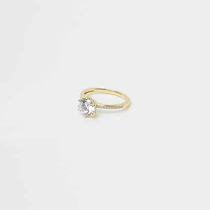 Gold Plated Round Crystal Ring