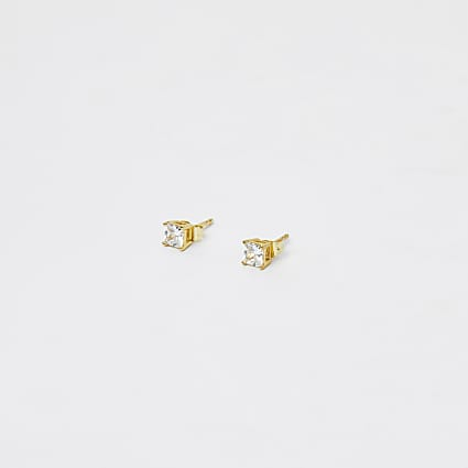 Gold Plated Square Crystal Studs