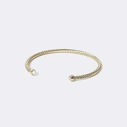Gold plated textured cuff bracelet