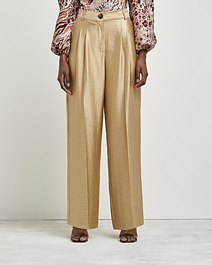 Gold pleated wide leg trousers