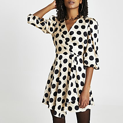 Gold polka dot mini wrap long sleeve dress