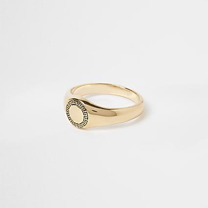 Gold premium Greek signet ring