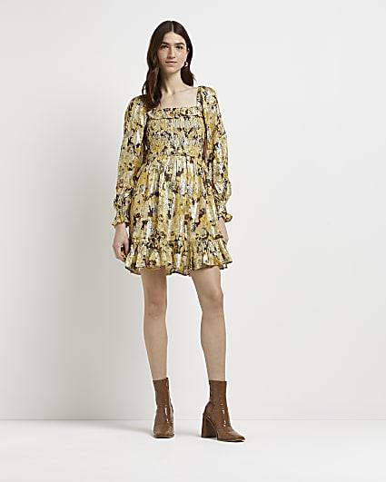 Gold printed shirred mini dress