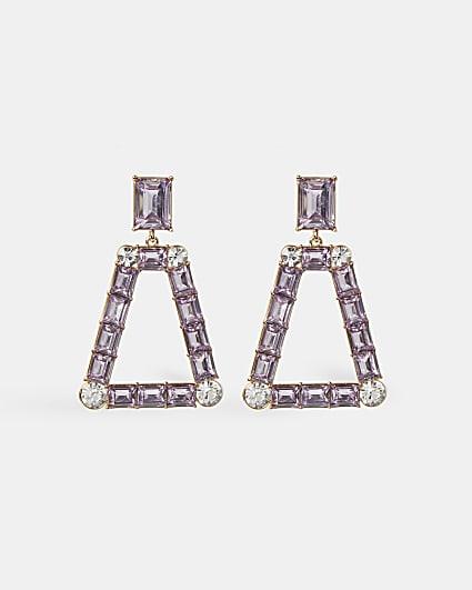 Gold purple stone drop earrings