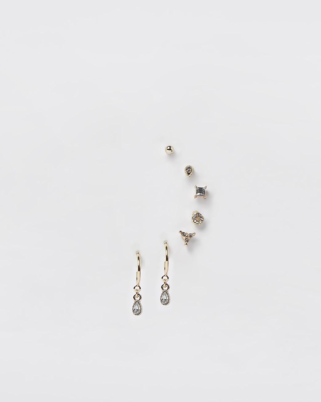 Gold rhinestone 8 pack earrings
