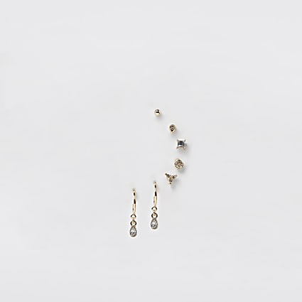 Gold rhinestone 8 pack earrings